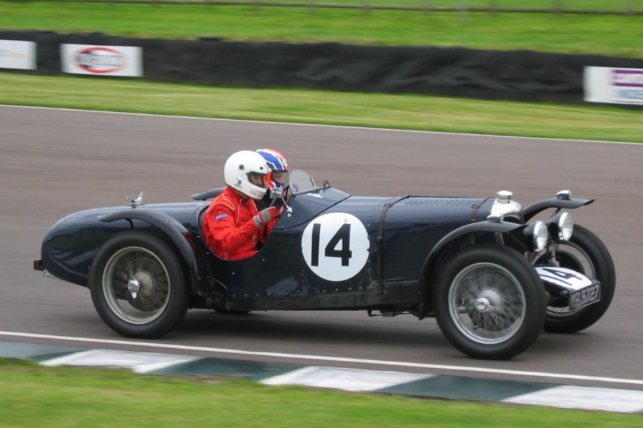 Rob Blakemore drives his Riley 12/4 at Goodwood with Steve Gordon in the passenger seat