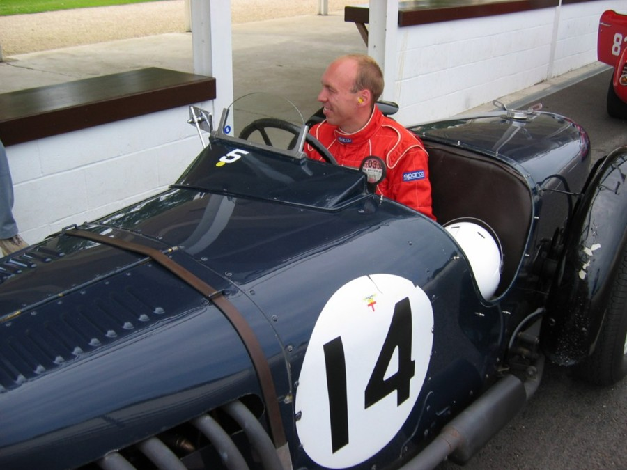Rob Blakemore in his Riley 12/4 in the pit lane at Goodwood